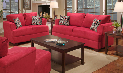 B2056S SUEDE RED SOFA AND LOVESEAT
