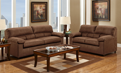 B2058 SUEDE CHOCOLATE SOFA LOVESEAT